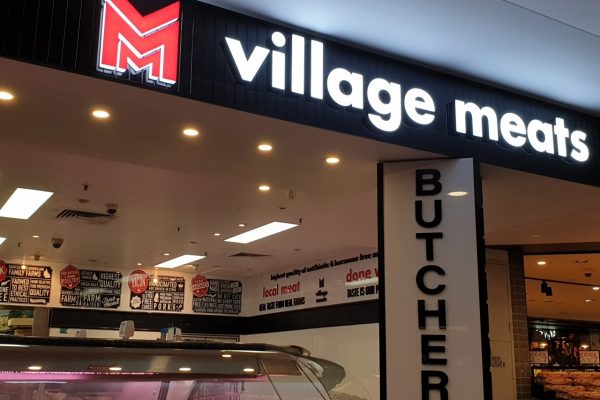 Village Meats – illuminated fabricated letters